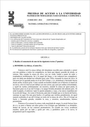 Examen de Selectividad: Literatura universal. Comunidad Canaria. Convocatoria Junio 2014