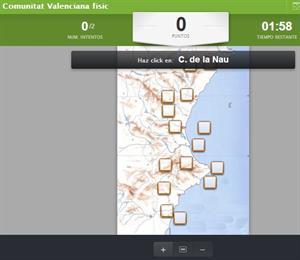 Comunitat Valenciana. Mapa físico interactivo (educaplay)