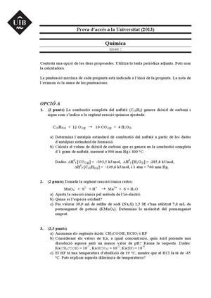 Examen de Selectividad: Química. Islas Baleares. Convocatoria Septiembre 2013