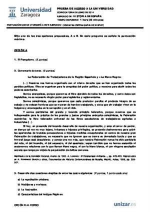 Examen de Selectividad: Historia de España. Aragón. Convocatoria Junio 2014