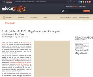 21 de octubre de 1520: Magallanes encuentra un paso marítimo al <b>...</b> (Educarchile)