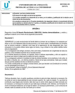Examen de Selectividad: Historia de España 1. Andalucía. Convocatoria Junio 2012