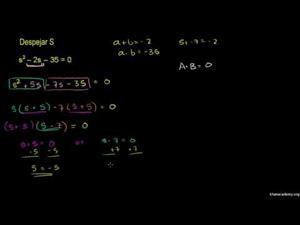 Resolución de ecuaciones cuadráticas por factorización 1 (Khan Academy Español)