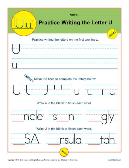 Practice Writing the Letter U