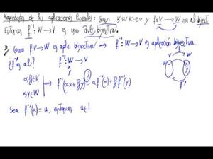 Propiedad de aplicaciones lineales - Inversa