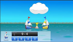 Juego para practicar restas: Sailboat Subtraction (Arcademic Skill Builders)