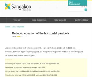 Reduced equation of the horizontal parabola