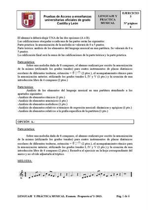 Examen de Selectividad: Lenguaje y práctica musical. Castilla y León. Convocatoria Junio 2013
