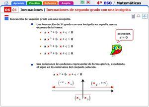Inecuaciones de segundo grado con una incógnita. Matemáticas para 4º de Secundaria