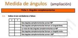 Medida de ángulos (ampliación) - Ficha de ejercicios