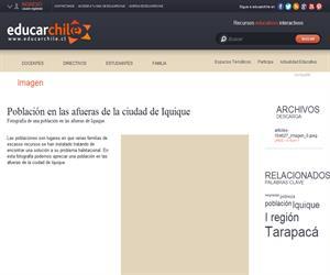 Población en las afueras de la ciudad de Iquique (Educarchile)