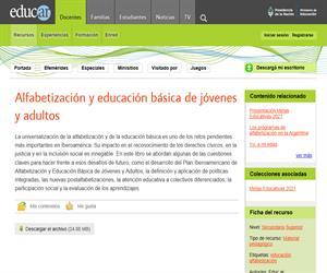 Alfabetización y educación básica de jóvenes y adultos