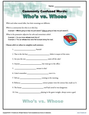 Who's vs. Whose – Commonly Confused Words Worksheet