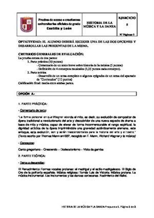 Examen de Selectividad: Historia de la música y la danza. Castilla y León. Convocatoria Junio 2014