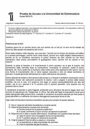 Examen de Selectividad: Italiano. Extremadura. Convocatoria Septiembre 2013