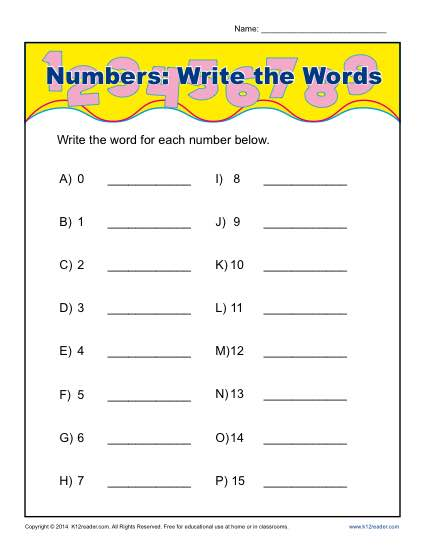 More Numbers: Write the Words