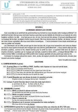 Examen de Selectividad: Francés 1. Andalucía. Convocatoria Junio 2012