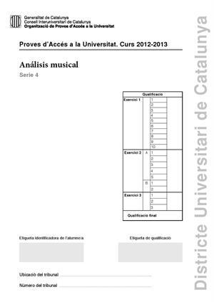 Examen de Selectividad: Análisis musical. Cataluña. Convocatoria Junio 2013