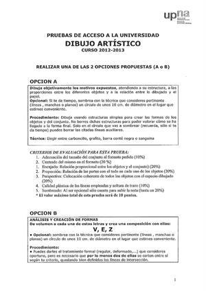 Examen de Selectividad: Dibujo artístico. Navarra. Convocatoria Junio 2013