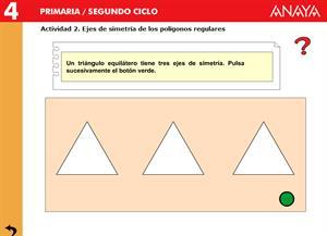 Simetrías. Ejes de simetría de los polígonos regulares. Editorial Anaya