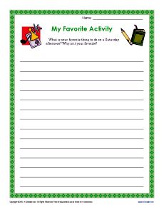 My Favorite Activity – Writing Activity