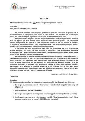 Examen de Selectividad: Francés. Asturias. Convocatoria Junio 2013