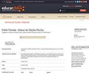 Pablo Neruda. Alturas de Machu Picchu (Educarchile)
