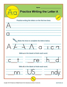 Handwriting Practice Letters A – Z