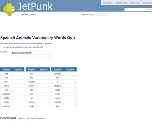 Spanish Animals Vocabulary Words Quiz