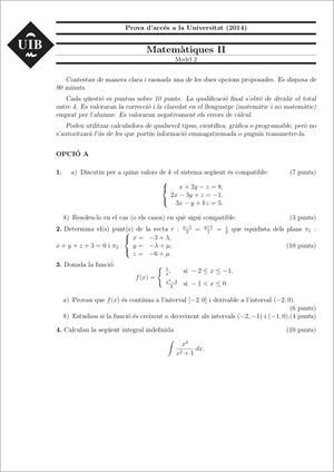Examen de Selectividad: Matemáticas II. Islas Baleares. Convocatoria Junio 2014