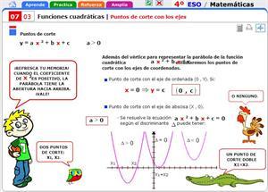 Puntos de corte con los ejes de una función cuadrática. Matemáticas para 4º de Secundaria