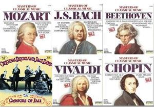 Obras maestras de la música clásica y del Jazz: Mozart, Vivaldi, Chopin, Beethoven, Bach y the Original Dixieland Jass Band (Wikipedia)