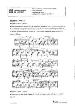 Examen de Selectividad: Análisis musical. La Rioja. Convocatoria Junio 2014