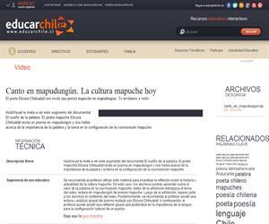 Canto en mapudungún. La cultura mapuche hoy (Educarchile)