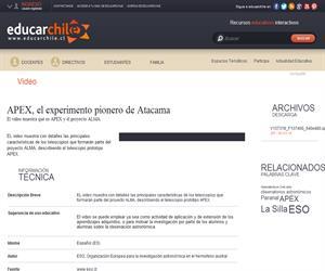 APEX, el experimento pionero de Atacama (Educarchile)