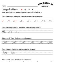 Cursive Handwriting Worksheet for the Letter n (Educarchile)