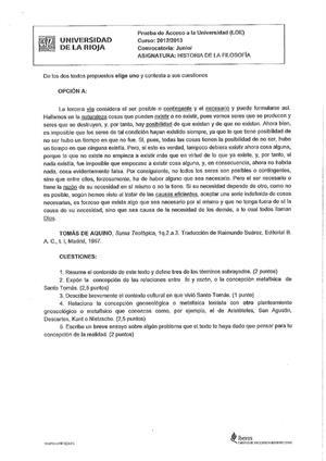 Examen de Selectividad: Historia de la filosofía. La Rioja. Convocatoria Junio 2013