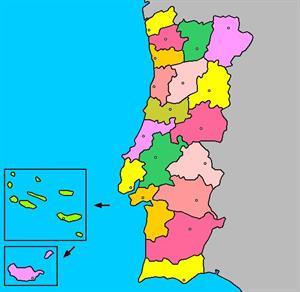 Mapa de Portugal: comunidades distritos y capitales (luventicus.org)