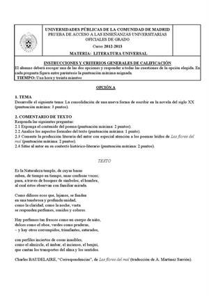 Examen de Selectividad: Literatura universal. Madrid. Convocatoria Junio 2013