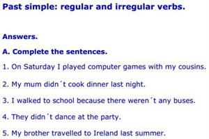 Regular verbs answers