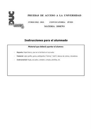 Examen de Selectividad: Diseño. Canarias. Convocatoria Junio 2013
