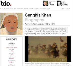 Genghis Khan Biography (biography.com)