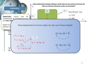 Dinámica - Ejercicio Tipo 2 - Aplicamos fuerza con un ángulo de 30º