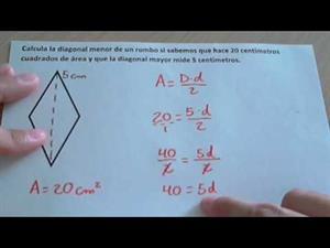 Área del rombo y cómo encontrar una diagonal