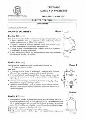 Examen de Selectividad: Electrotecnia. Cantabria. Convocatoria Septiembre 2013