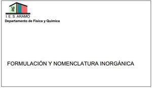 Formulación y nomenclatura inorgánica (lección para imprimir)