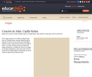Creación de Adán, Capilla Sixtina (Educarchile)