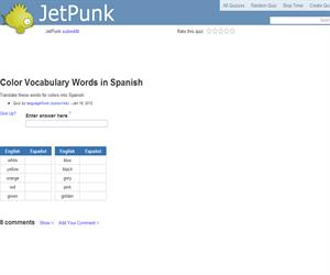 Color Vocabulary Words in Spanish