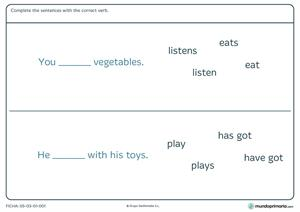 Ficha de sentences para 3º de primaria (mundoprimaria.com)