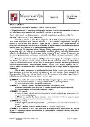 Examen de Selectividad: Francés. Castilla y León. Convocatoria Junio 2013